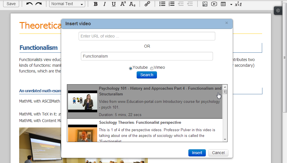 the editor with the video chooser dialog open