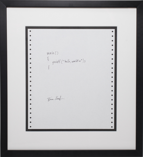 "Framed pen and ink of Brian Kernighan's famous Hello World program. 'Main(){printf(""Hello, worldn"");}'"